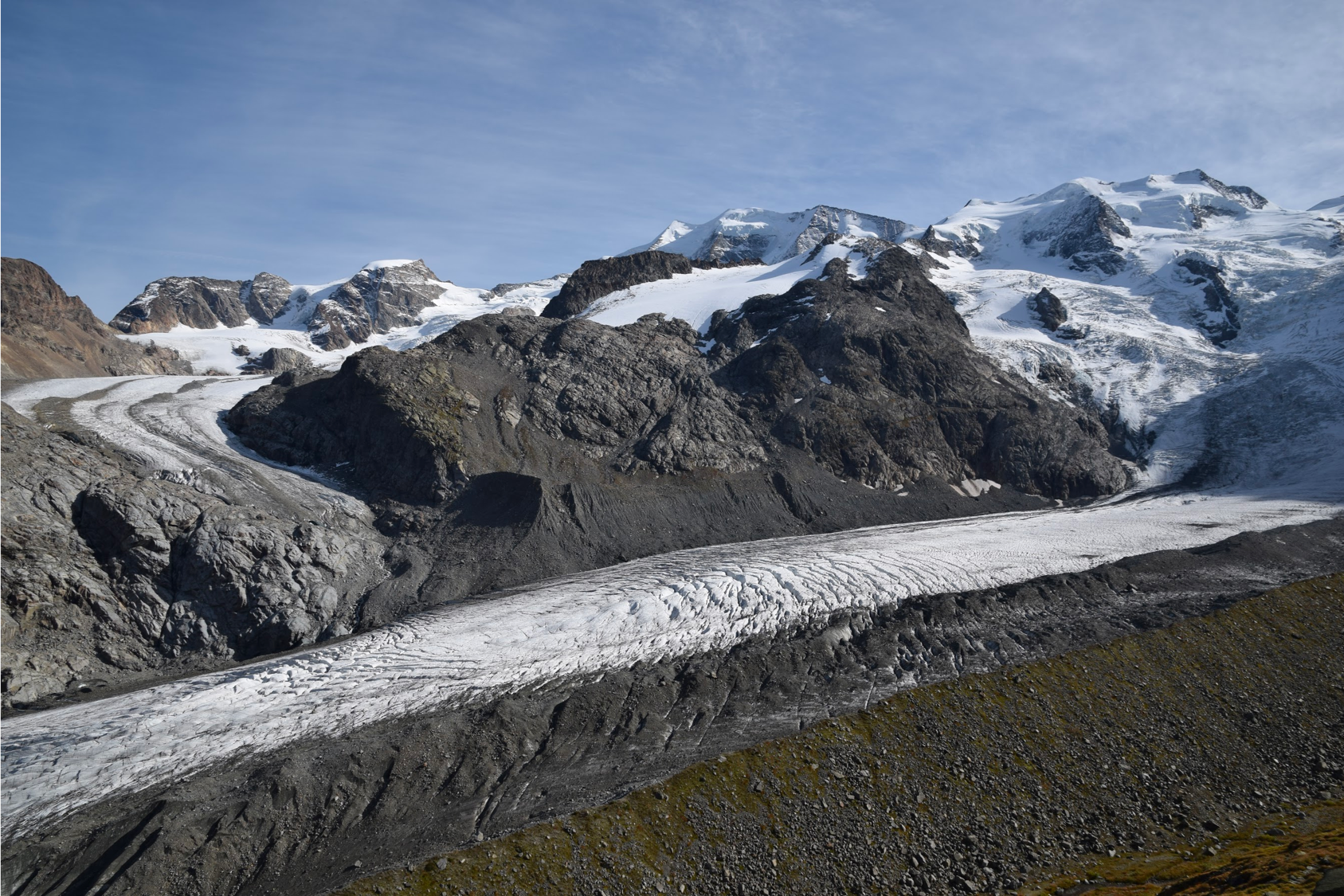 Annual field work is conducted on the Morteratsch and Pers glaciers in Switzerland